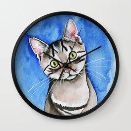 meow? // watercolor tabby cat portrait Wall Clock