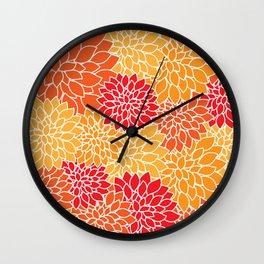 Dahlia Flowers, Petals, Blossoms - Orange Red Wall Clock
