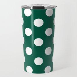 Castleton green - green - White Polka Dots - Pois Pattern Travel Mug