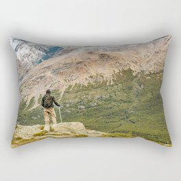 Man at Top of Andes Mountains, Patagonia - Argentina Rectangular Pillow