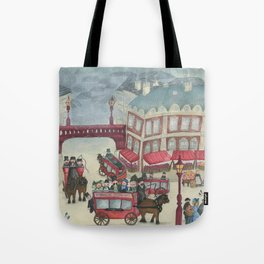 Old London and its commuters - A illustration inspired by victorian London Tote Bag