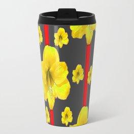 YELLOW AMARYLLIS BLACK-RED DECO ART Travel Mug