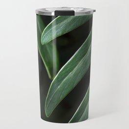 Tropical Leaves on Black Travel Mug