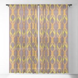Retro-Delight - Double Drops - Golden Plum Sheer Curtain