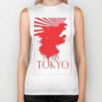 """tokyo Biker Tanks featuring """"Tokyo"""" by ICECREAM ROBOT"""