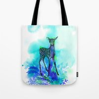 bambi Tote Bags featuring bambi by anneamanda