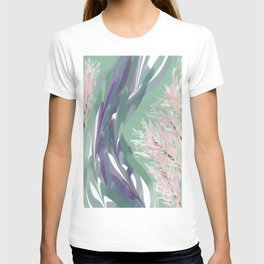 Deep Ocean River Abstract In Soft Green and Purple T-shirt