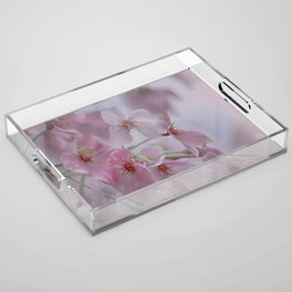 Delicate Pink Blossoms Acrylic Tray