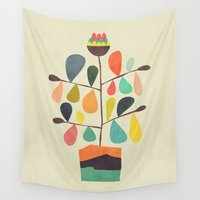 plant Wall Tapestries featuring Potted Plant 4 by Picomodi