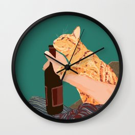 Wine Cat Wall Clock