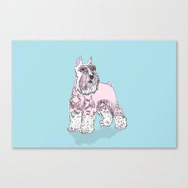 Schnauzer pink Canvas Print
