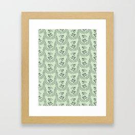 Green Nature Olive Leaf Berry Birds Branch Framed Art Print