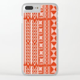Boho Mud Cloth (Coral) Clear iPhone Case