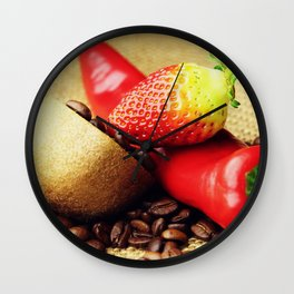 Coffee beans Kivi strawberry pepper Wall Clock