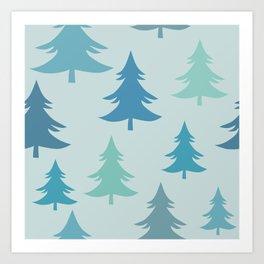 Winter Fir Trees, Firs Winter Pattern Art Print