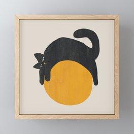 Cat with ball Framed Mini Art Print