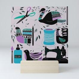 A crafters dream collage Mini Art Print
