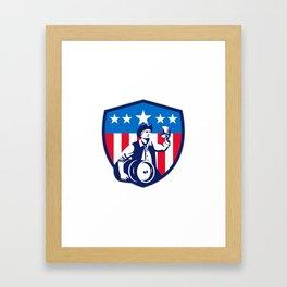 American Patriot Beer Keg Flag Crest Retro Framed Art Print