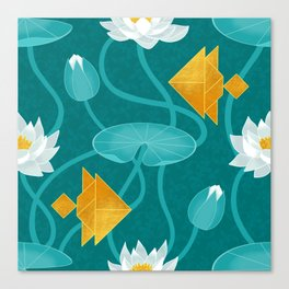 Tangram goldfish and water lillies Canvas Print