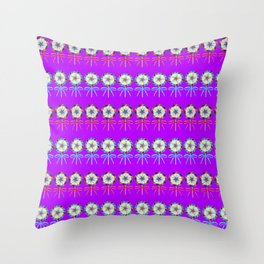 Lovely cute lollipop candy pattern. Rows of beautiful retro vintage lollipops with red ribbon bows Throw Pillow
