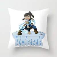 the legend of korra Throw Pillows featuring Korra by HelloTwinsies