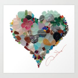Love - Original Sea Glass Heart Art Print