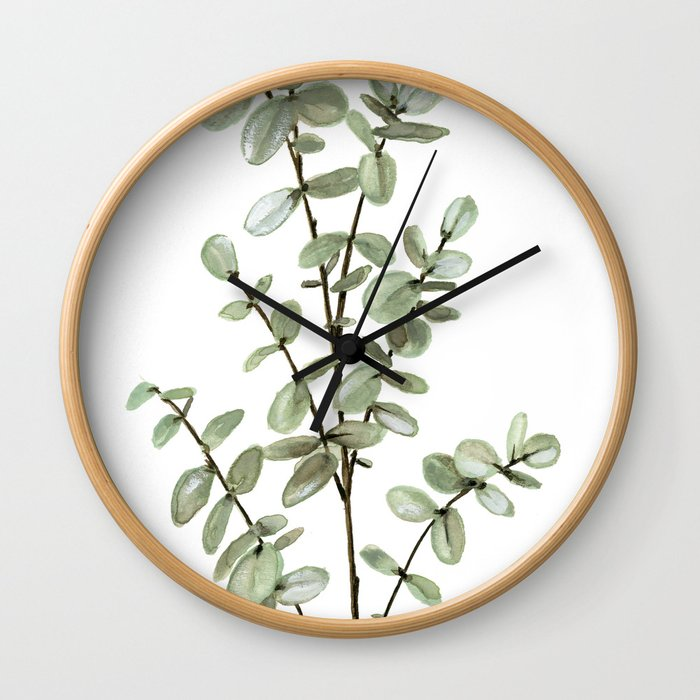 Baby Blue Eucalyptus Watercolor Painting Wall Clock
