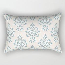Crest Damask Repeat Pattern Blue on Cream Rectangular Pillow