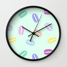 Large Macarons in Mint Wall Clock