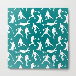 Baseball Players // Teal Metal Print