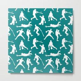 Baseball Players // Teal Metal Print