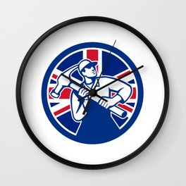 British Joiner Union Jack Flag Icon Wall Clock