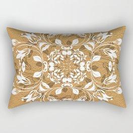 ELEGANT GOLD AND WHITE FLORAL MANDALA Rectangular Pillow