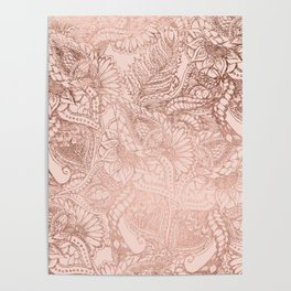 Modern rose gold floral illustration on blush pink Poster