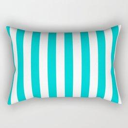 Narrow Vertical Stripes - White and Cyan Rectangular Pillow