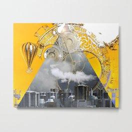 Abstract Collage City Clocks Metal Print