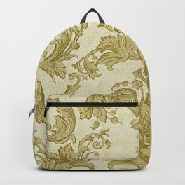 Gold Cream Paisley Floral Pattern Backpack