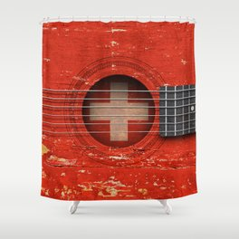 Old Vintage Acoustic Guitar with Swiss Flag Shower Curtain