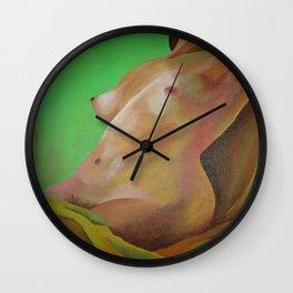 Young Beautiful Nude Woman Reclining In Sheets Wall Clock