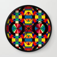 introvert Wall Clocks featuring Introvert/Extrovert by Art by Andrew Smith