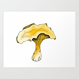 Chanterelle Mushroom, Hand drawn, Pen and Ink, Food, Nature Art Print