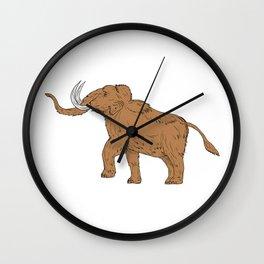Woolly Mammoth Prancing Drawing Wall Clock