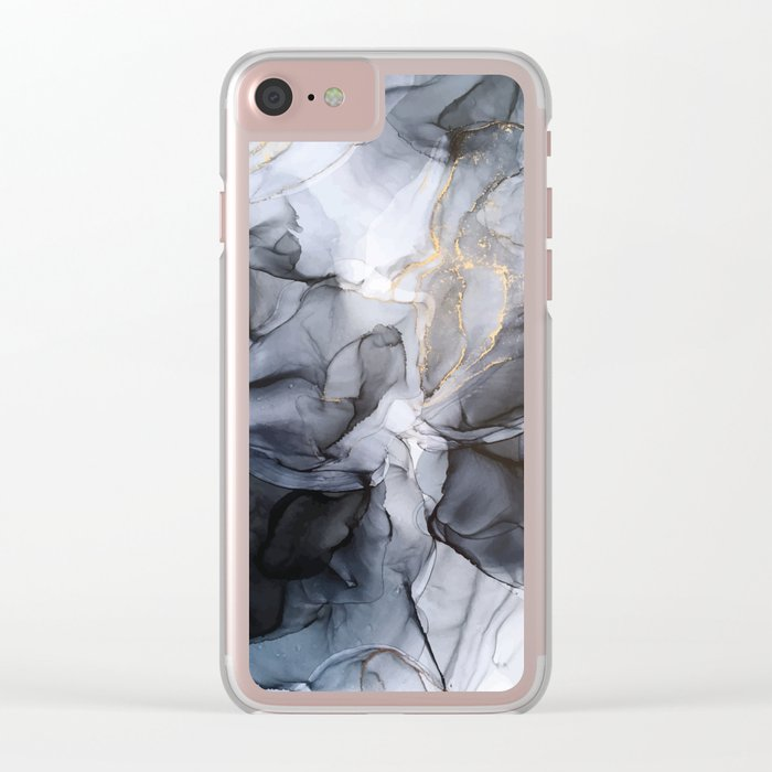Calm but Dramatic Light Monochromatic Black & Grey Abstract Clear iPhone Case