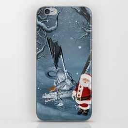 Santa Claus with ice dragon in a winter landscape iPhone Skin