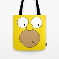 simpson Tote Bags featuring Surprised Homer Simpson by julien tremeau