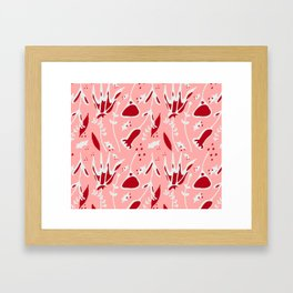 winter floral pink Framed Art Print