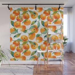 Mandarins With Leaves Wall Mural