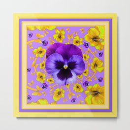 PANSIES YELLOW BUTTERFLIES & FLOWERS GARDEN Metal Print