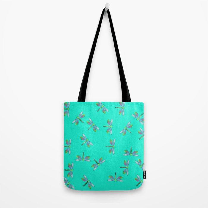 Dragonflies In Aqua and Purple Tote Bag
