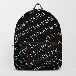 Hacking Malware Source Code (Black background, angled) Backpack